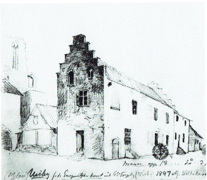 Bilden visar Wendtska huset med trappgaveln som låg mot S:t Hansgatan. T.h. om trappgavelhuset skymtar den något lägre byggnaden där Kungssalen låg på övre våningen.  Under en del av 1800-talet fanns i dessa byggnader stadens societetslokal och värdshus. Teckning  av P. A. Säve. 1847. Bild från Visby förr i tiden.
